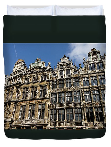 Duvet Cover featuring the photograph Postcard From Brussels - Grand Place Elegant Facades by Georgia Mizuleva