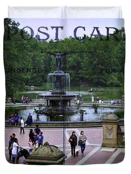 Postcard From Central Park Duvet Cover by Madeline Ellis