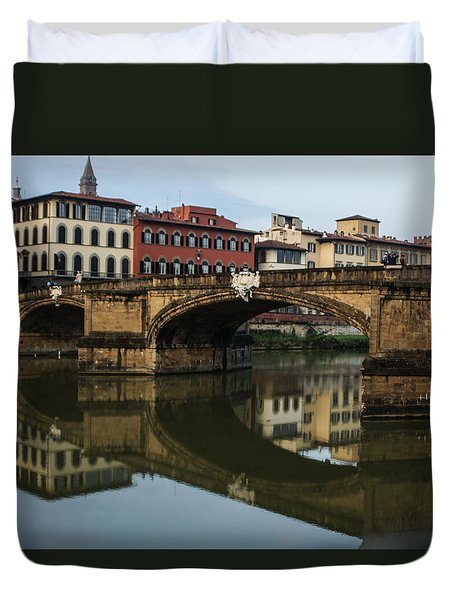 Postcard From Florence - Arno River And Ponte Santa Trinita  Duvet Cover