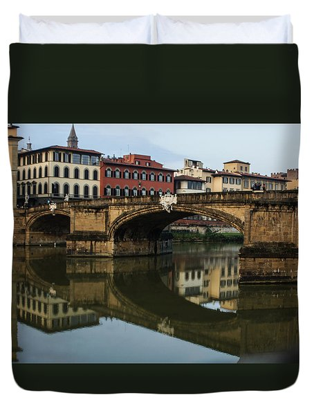 Duvet Cover featuring the photograph Postcard From Florence  by Georgia Mizuleva