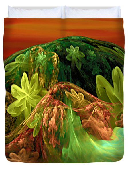 Duvet Cover featuring the digital art Postcard From La-la Land - Abstract Fantasy By Giada Rossi by Giada Rossi