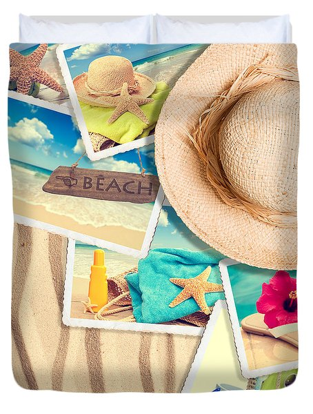 Postcards In The Sand Duvet Cover by Amanda Elwell