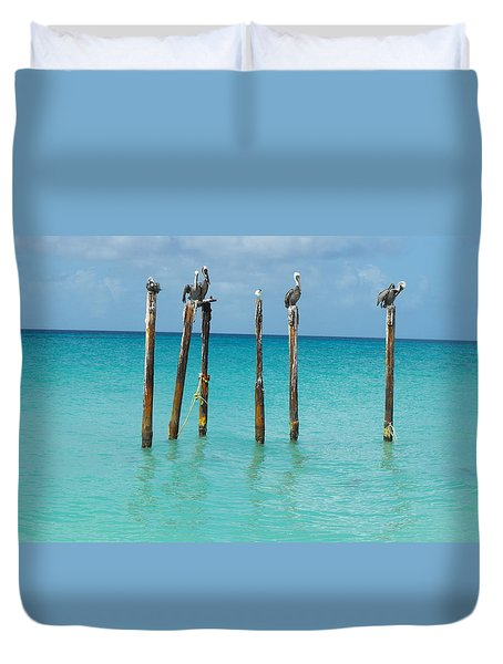 Posted Seagull Duvet Cover by David and Lynn Keller