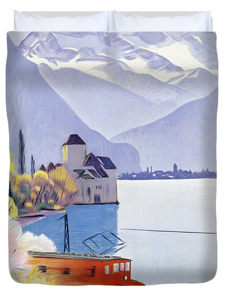 Poster Advertising Rail Travel Around Lake Geneva Duvet Cover