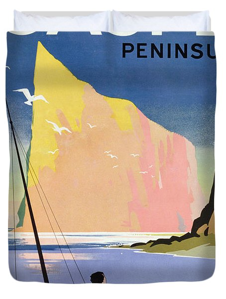 Poster Advertising The Gaspe Peninsula Quebec Canada Duvet Cover by Canadian School
