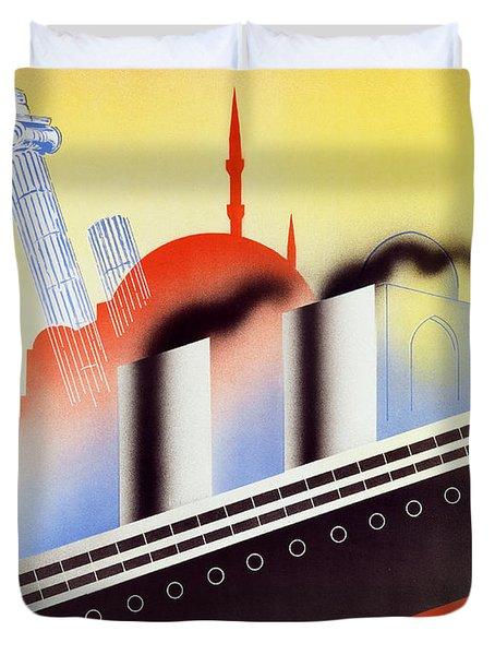 Poster Advertising The Polish Palestine Line Duvet Cover by Zygmunt Glinicki