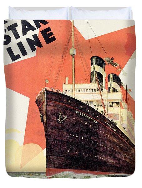 Poster Advertising The Red Star Line Duvet Cover by Belgian School