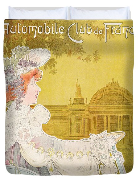 Poster Advertising The Sixth Exhibition Of The Automobile Club De France Duvet Cover by J Barreau