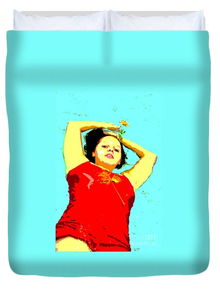 Duvet Cover featuring the photograph Poster Girl 2 by Randi Grace Nilsberg