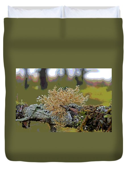 Posterized Antler Lichen Duvet Cover by Cathy Mahnke