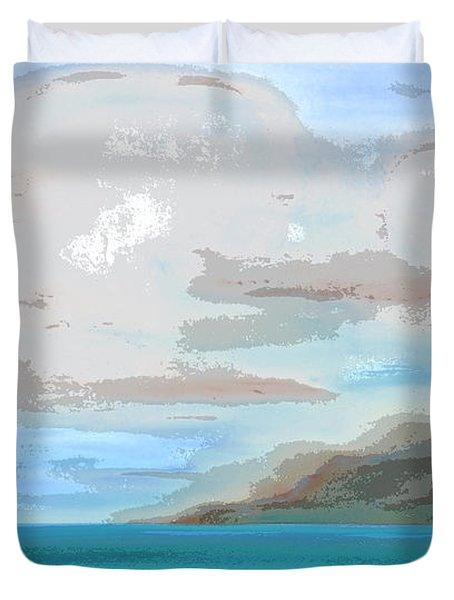 Posterized Landscape Alaska  Duvet Cover