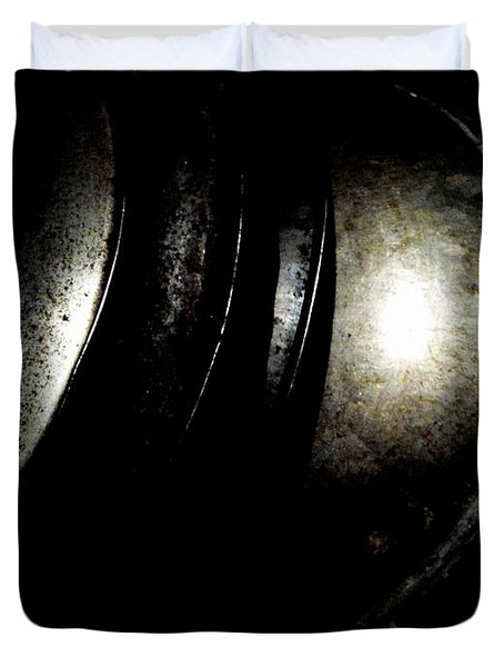 Duvet Cover featuring the photograph Pot Lids by Newel Hunter