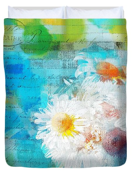 Pot Of Daisies 02 - J3327100-bl1t22a Duvet Cover by Variance Collections