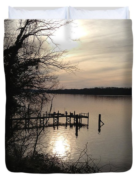 Duvet Cover featuring the photograph Potomac Reflective by Charles Kraus