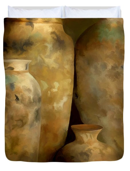 Pots Of Time Duvet Cover by Michael Pickett