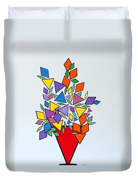 Duvet Cover featuring the painting Potted Blooms Triangle by Thomas Gronowski