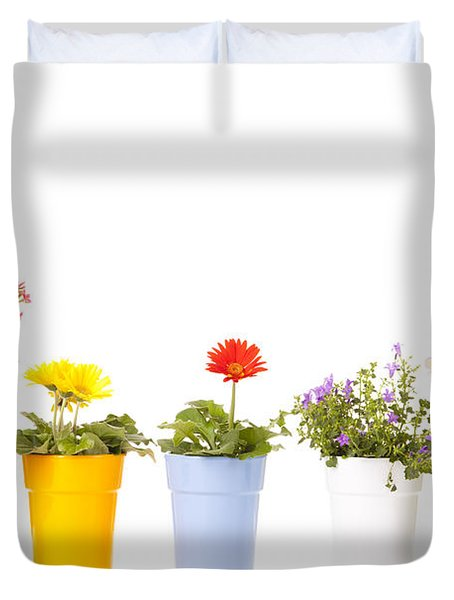 Potted Flowers Duvet Cover by Alexey Stiop