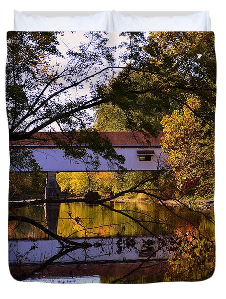 Potter's Covered Bridge Reflection Duvet Cover