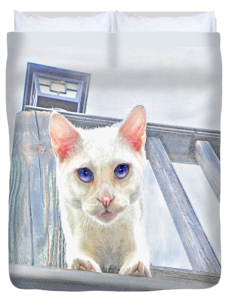 Duvet Cover featuring the digital art Pounce by Jane Schnetlage