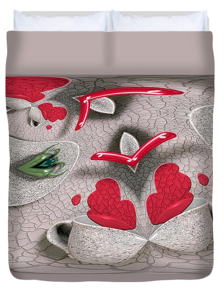 Pouring Her Heart Out Duvet Cover