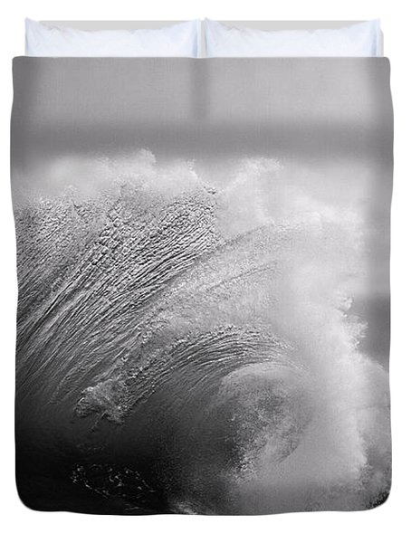 Power In The Wave Bw By Denise Dube Duvet Cover