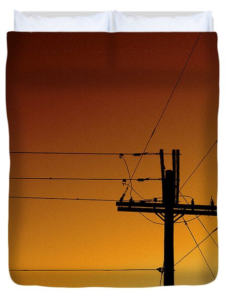 Power Line Sunset Duvet Cover by Don Spenner
