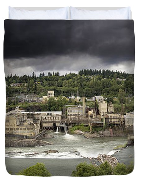 Power Plant At Willamette Falls Lock Duvet Cover