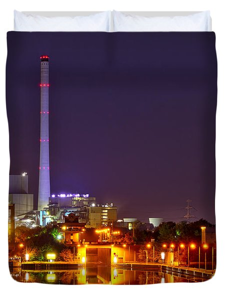Powerhouse In A Sea Of Lights Duvet Cover by Daniel Heine