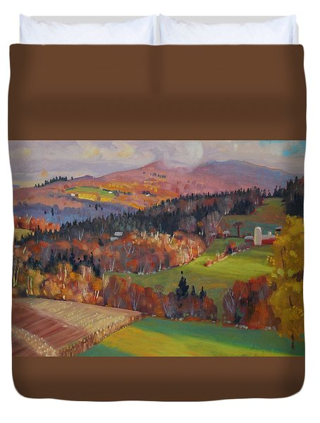 Duvet Cover featuring the painting Pownel Vermont by Len Stomski