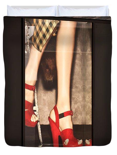 Prada Red Shoes Duvet Cover