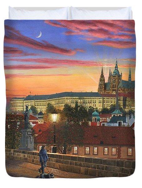 Prague At Dusk Duvet Cover