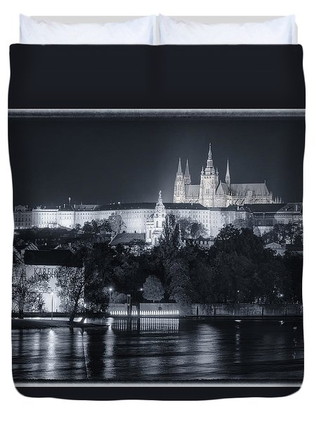 Prague Castle At Night Duvet Cover