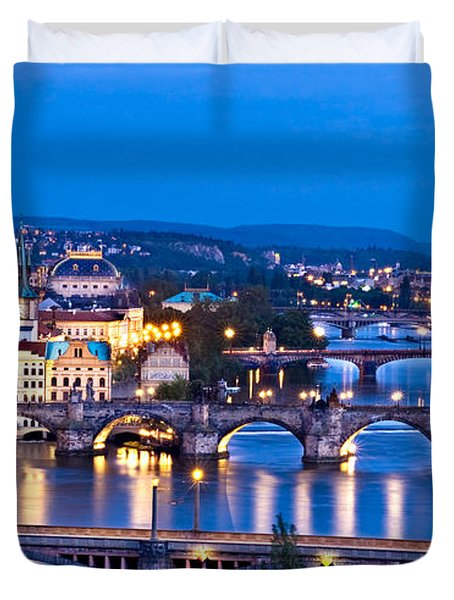 Duvet Cover featuring the photograph Prague Cityscape At Night by Barry O Carroll