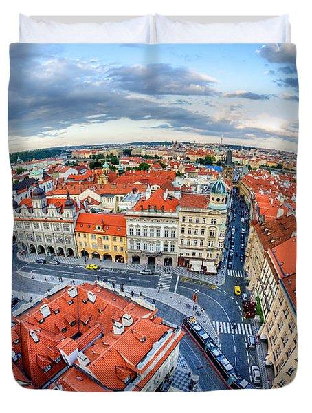 Prague From Above Duvet Cover