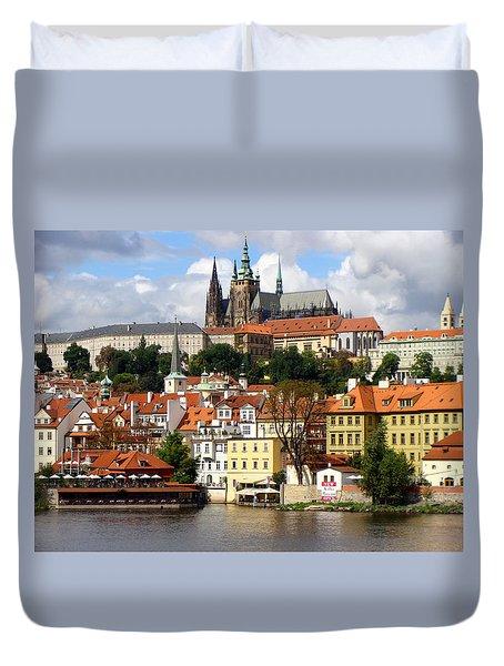 Duvet Cover featuring the photograph Prague Skyline by Ira Shander