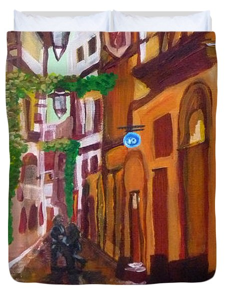 Duvet Cover featuring the painting Prague Old Small Street  By Janelle Dey by Janelle Dey