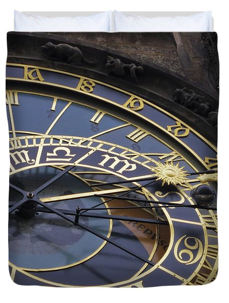 Prague Orloj Duvet Cover by Adam Romanowicz