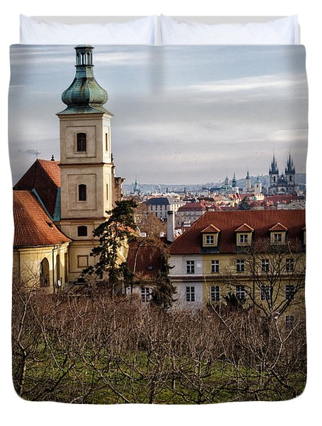 Prague View From The Gardens Duvet Cover