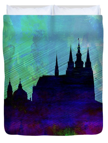 Prague Watercolor Skyline Duvet Cover
