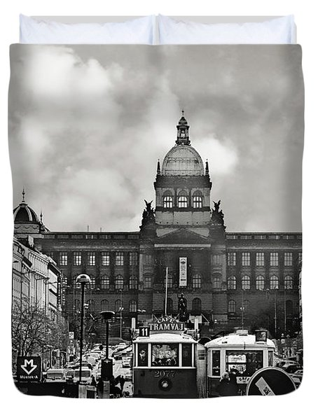 Prague Wenceslas Square And National Museum Duvet Cover by Christine Till