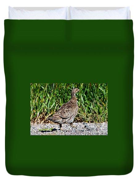 Duvet Cover featuring the photograph Prairie Chicken Run by Janice Rae Pariza