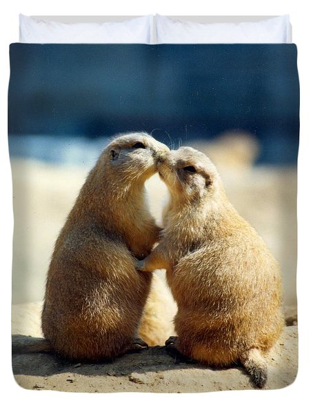 Prairie Dogs Kissing Duvet Cover