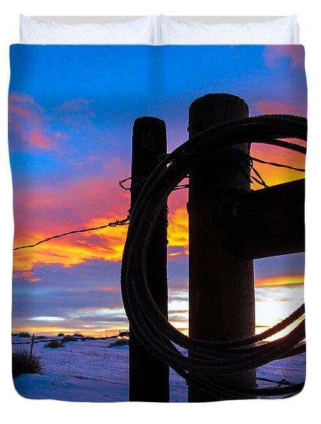 Prairie Fence Sunset Duvet Cover