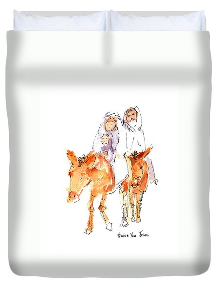 Praise You Jesus Watercolor Painting By Kmcelwaine Duvet Cover