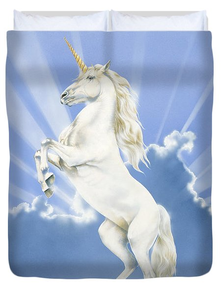 Prancing Unicorn Duvet Cover by Irvine Peacock