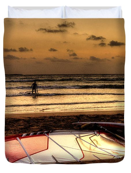 Duvet Cover featuring the photograph Prasonisi - A Day Of Windsurfing Is Over by Julis Simo