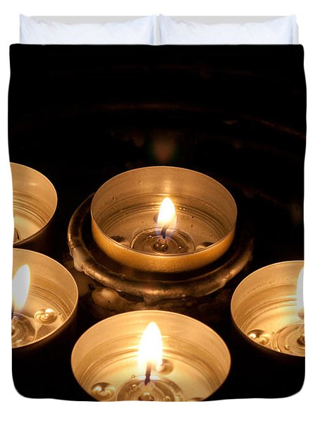 Prayer Candles In Notre Dame Duvet Cover