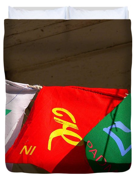 Prayer Flags Duvet Cover by Angela Wright