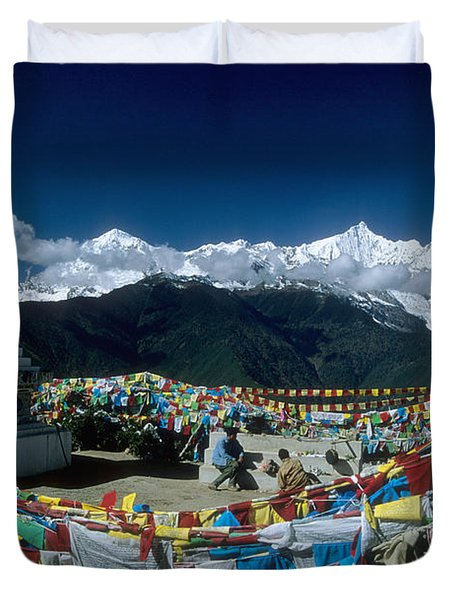 Prayer Flags In The Himalayan Mountains Duvet Cover