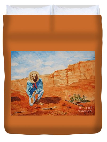 Duvet Cover featuring the painting Prayer For Earth Mother by Ellen Levinson